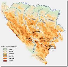 Физико-Географическая карта Боснии и Герцеговины